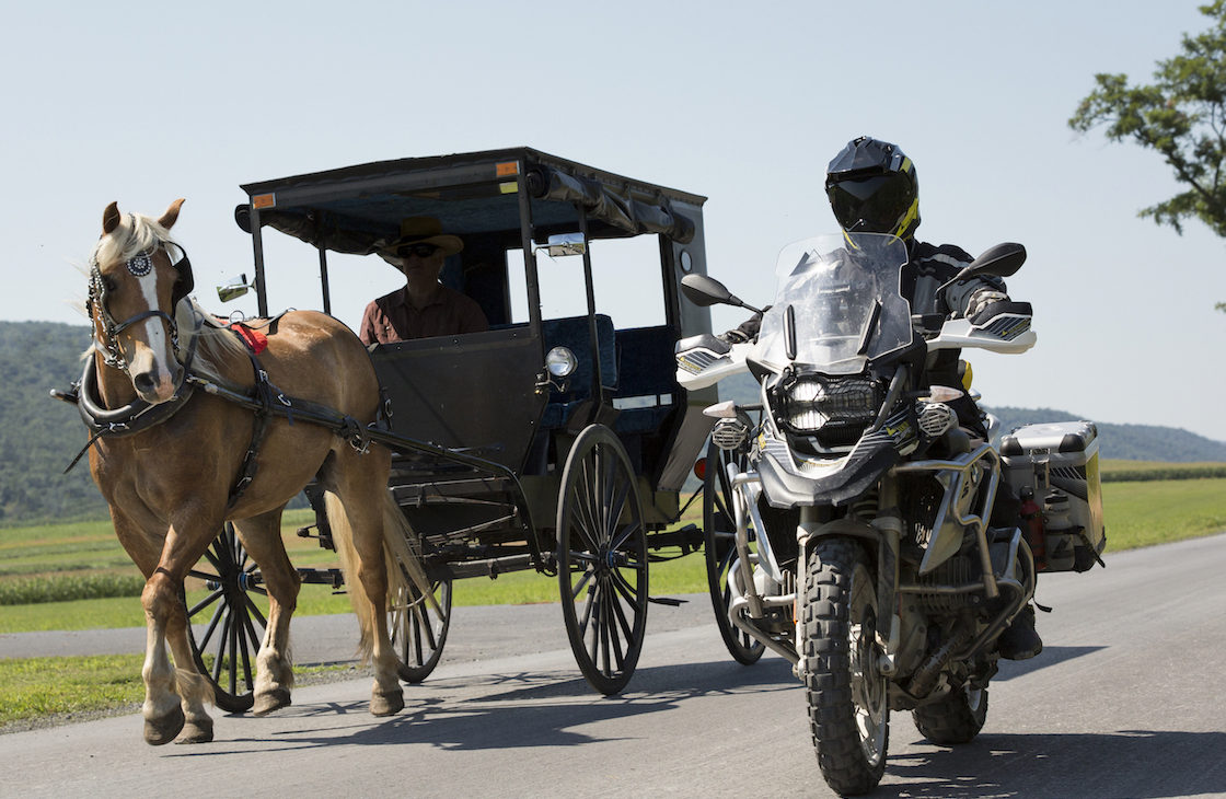 Touratech's GM Paul Guillien in the Amish countryside.
