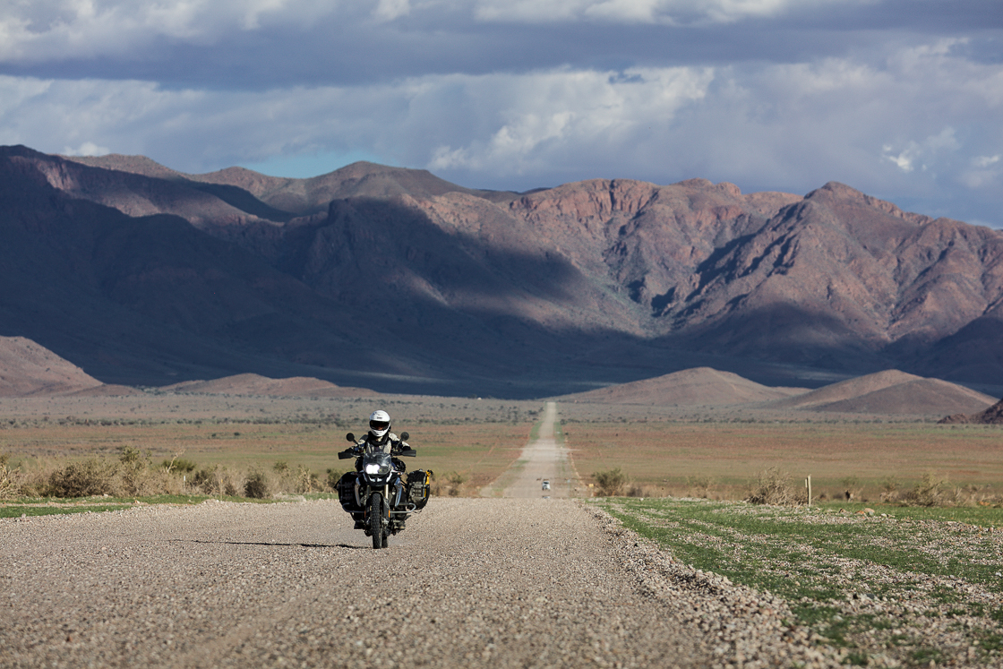 Heather riding in Namibia